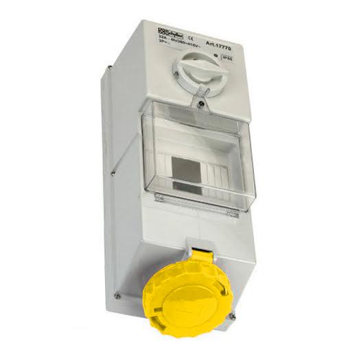 110V Yellow Wall-mounted Interlocked Socket w/ Fuse Box 16A 2P + E IP55