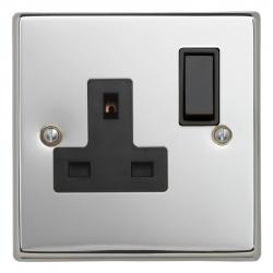 Contactum polished chrome switches and sockets black inserts
