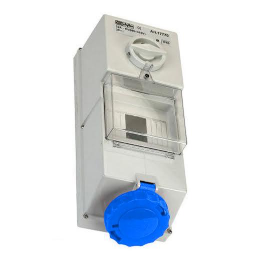 240V Blue Wall-Mounted Interlocked Socket w/ Fuse Box 16A 2P + E IP44