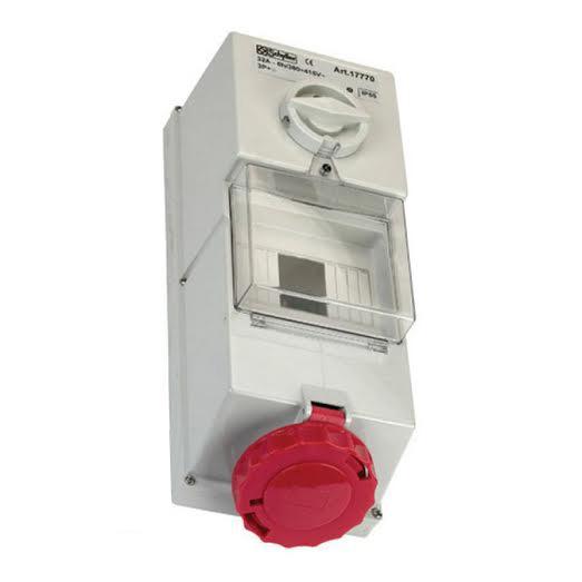 415V red wall mounted interlocked socket with fuse box 16Amp 3P + E IP55