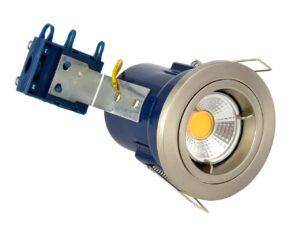 Forum Yate Satin Chrome Fixed Fire Rated Downlight GU10