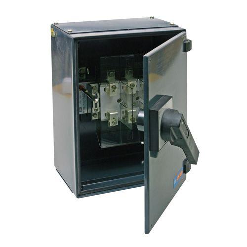 Metal industrial isolators 100A switch fuses TPN metal enclosure